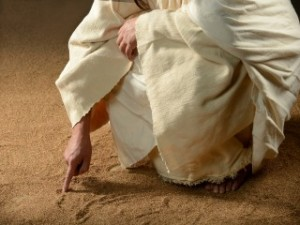 jesus-writing-in-the-sand-2 free photo