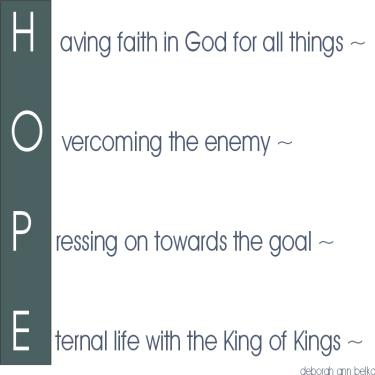 Hope CHRISTian poetry by deborah ann