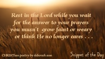 Snippet of the Day ~ 07.03.16 ~ CHRISTian poetry by deborah ann