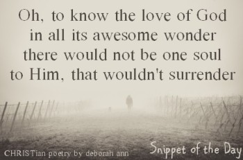 Snippet of the Day ~ 08.23.16 ~ CHRISTian poetry by deborah ann