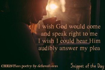 Snippet of the Day ~ 08.24.16 ~ CHRISTian poetry by deborah ann
