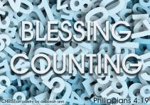 Counting My Blessings ~ CHRISTian poetry by deborah ann ~ free to use